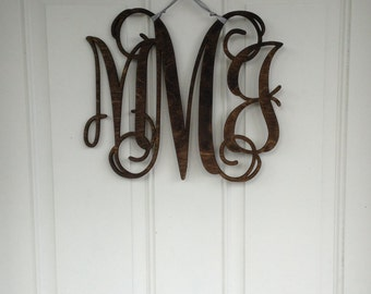 Large Wood Monogram Decor Hanging - Engagement Party, Bridal Shower or Photo Prop - Rustic Shabby Chic Wedding