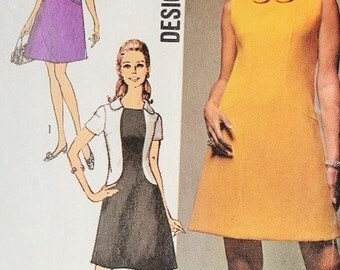 MOD 60s Simplicity Designer 8485 Vintage Sewing Pattern 3 Style Versions Mini Dress Bust 36