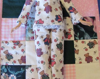 Barbie quilt and pajamas set - pink and green