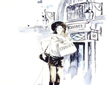 Chanel Girl Shopping in Paris Print from Original Watercolor Painting - Fashion Illustration by Lana Moes