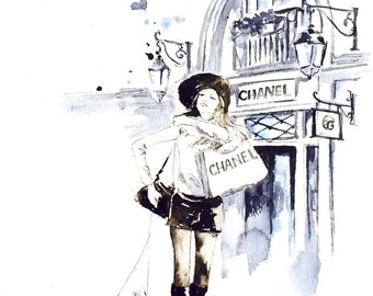 Chanel House, Parisian Girl Shopping in Paris, Print from Original Watercolor Painting, Fashion Illustration by Lana Moes, Parisian Style