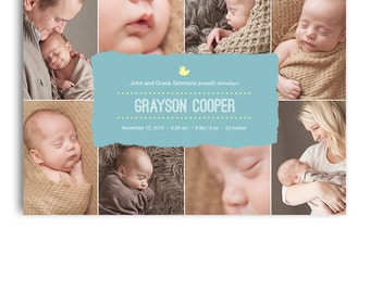 Birth Announcement Card - Photoshop Template Design - 1037