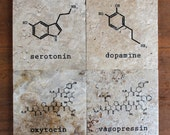 Chemistry of Love Coasters, set of 4 biochemistry coasters, chemistry gift