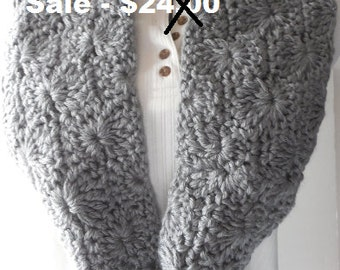 Infinity Scarf - Gray - Circle Scarf - Handmade Crochet - Reduced Price - Clearance - Ready to Ship