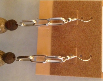 Leopardskin Jasper & Dzi Etched Agate Earrings with Silver Metal Chain