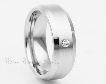Titanium Wedding Ring,White Diamond,Titanium Wedding Band,Beveled Edges,Brushed Polish,Anniversary Band,Engagement Ring,His,Hers,Handmade