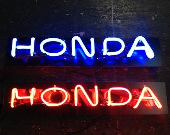 Honda logo in Blue neon