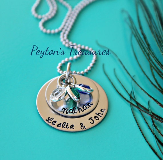 Hand Stamped Jewelry Layered Mothers Necklace Custom Made With Swarovski Crystal Birthstones
