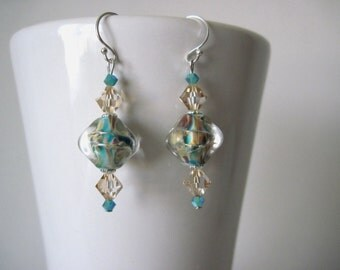 glass earrings    beige and aqua