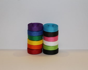 """1/4"""" (6mm) Grosgrain Ribbon Lot (You Choose 1, 2 or 5 Yards EACH of 12 different colors)"""