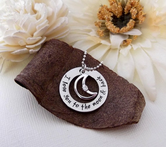 I Love You To The Moon And Back- Mommy Necklace- Moon and Back Necklace- I Love You To The Moon Jewelry- Mother's Day Gift- Grandma Necklace