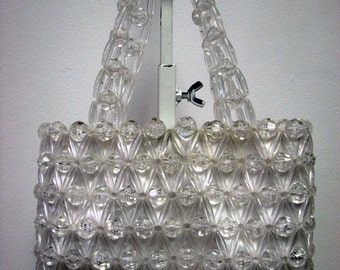 Retro Faux Crystal Clear Plastic Beaded Evening Handbag