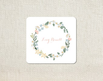 little girls floral wreath enclosure cards calling cards