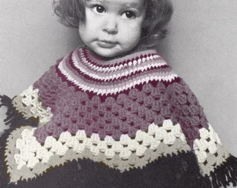 CROCHET PATTERN - Vintage Crochet Pattern - Baby Poncho - Toddlers Winter Jacket- PDF Instant Download - Baby Girls Coat - Toddlers Poncho
