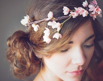 Pink Flower Crown, Halo, Bridal Flower Crown,Prom Hair,  Wedding Hair , Accessories, Hair Wreath, Bridal Headpiece, Woodland Hair, Beach