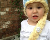 Girls Elsa or Anna Frozen Style Crochet Hat - Princess Hat with Braided Hair
