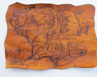 Handcrafted Leather Patch with Pyrography. Map of the Middle Earth.