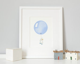 Powder Blue, UNFRAMED Balloon Print, Duck Illustration, Pastel Boy's Nursery Art, Baby Boy, Archival Print, UK Nursery Art
