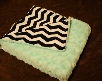 Chevron and turquoise swirl minky blanket (29x25). Black and white chevron, swirly rosebud minky. Girl, boy, baby, toddler