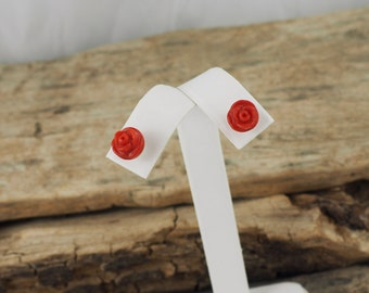 Sterling Silver Post Earrings - Natural Red Coral Rose Earrings - 8mm Red Coral Roses on Sterling Silver Posts