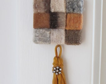 felted wool necklace in brown, with tassel