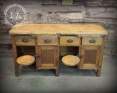 Vintage Industrial Antique Swing Stool Desk Lab Table