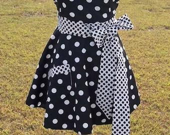 Womens Sweetheart Plus Size Apron - Retro Black & White Polka Dot - Plus Size Sweet Chef Apron