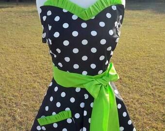 Sweetheart Apron Womens Sweet Chef II Retro Polka Dots With Ruffle Accents