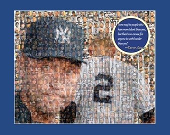 Derek Jeter Photo Mosaic Print Art - Using 50 Different Pictures of Derek. - Handmade by the Mosaic Guy