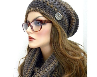 Tweed Hat And Scarf Set, Hat and Infinity Scarf, Brown Tweed Infinity Scarf, Matching Hat & Scarf Set, Woman's Winter Accessories