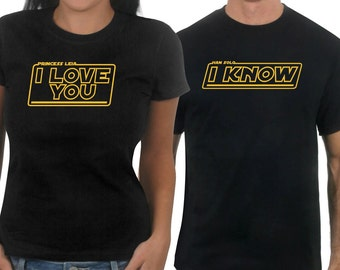 """Matching """"I Love You... I Know"""" The Empire Strikes Back Movie Quote matching T-shirt Set"""