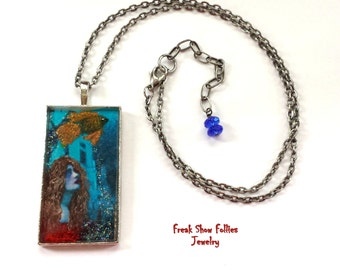 hand painted mermaid resin pendant necklace
