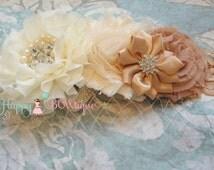 Flower girl headband, Ivory Tan Birdcage headband,Burlap, bridesmaid headband,Rustic headband,Birdcage headband,Ivory headband,Birdcage Veil