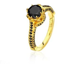 Royal Black Diamond & Yellow Gold Ring