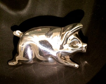 Unusual Modernist Sterling Silver Pig Brooch, Repousse, Taxco