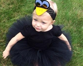 Black Crow Costume, Black Tutu Costume, Black Bird Costume, Birdie Costume, Tutu Halloween Costume, Infant Toddler Halloween Costume