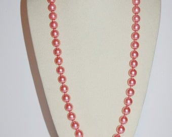 Joan Rivers Pearl Necklace - Faux Pearls in Dark Pink 30 Inches                      - S1054