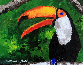 "Palette kinfe painting 12x12"" small original acrylic bird on panel green black orange toucan impressionist fine art by Cristina Jacó"