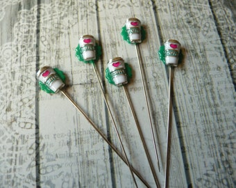 5 Mini Take Out Coffee Inspired Handmade Decorative 2 inch Stick Pins - Sewing Quilting Pins - Scrapbook Card Embellishment Pins - QPMC5