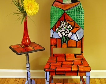 Picasso Woman with Shawl Upcycled Chair Painted by Artist Todd Fendos