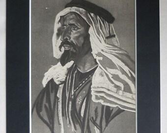 Vintage Portrait Print of Aubu ibu Tayi by Eric Kennington. Bedouin Arab decor, Great Arab Revolt, available framed, prints portrait drawing