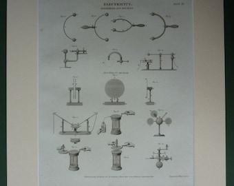 1820 Antique Science Print of Electrical Equipment 19th century Georgian technical diagram of scientific apparatus, antique physics decor