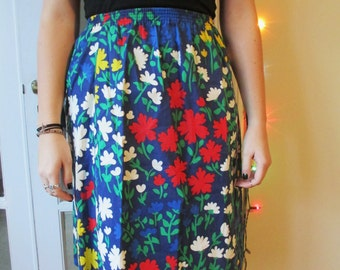 Vintage Medium Length Elastic Waist Blue Floral Pattern Skirt- White, Yellow and Red Floral Pattern Skirt
