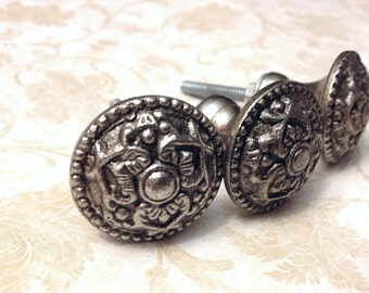 Silver Antique Style Primitive Pewter Knobs, Dresser knob, Drawer pull, Decorative knob, Custom Cabinet Hardware