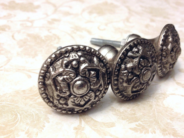 Silver Antique Style Primitive Pewter Knobs, Dresser knob, Drawer ...
