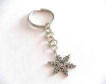 Metal Snowflake Keychain - Winter Keychain
