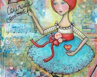 Tightrope Walker Pretty Ballerina Circus Girl Art PRINT 8x10 Whimsical Mixed Media Girl, Flying Trapeeze, Turquoise and Red Hearts & Roses