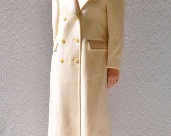 PENDLETON Wool Winter Coat | Full Length Overcoat.  Dressy Winter Coat. Cream Double Breasted Trench Coat. Winter Wedding Party |  8. medium