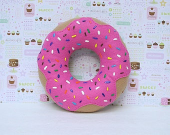 Doughnut Pillow, Pink Donut, Felt,  Machine Washable Toy, Friend Gift, Decorative Pillow, Hand Sewn