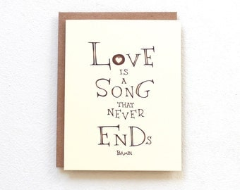 Handmade greeting card - Love is a song that never ends, anniversary card, love card, rustic wedding day card for mother/father of the bride